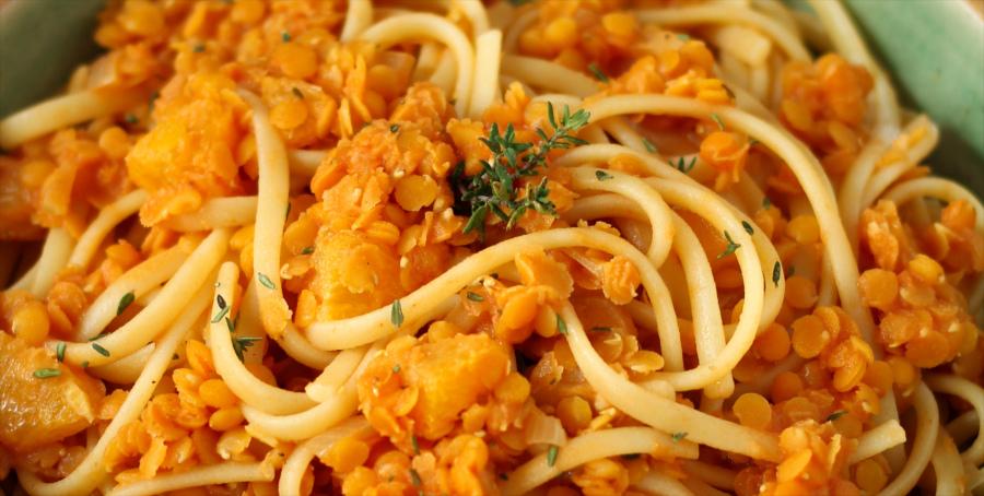 Orangen-Linsen-Pasta