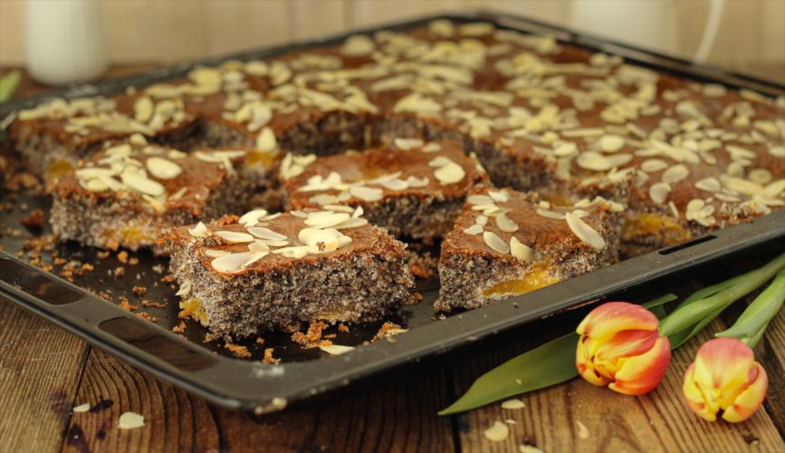 Saftiger Mohnkuchen mit Aprikosen vom Blech