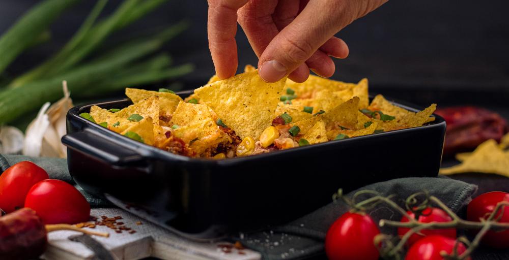 Chili sin Carn Auflauf mit Nachos